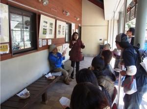 ワークセンターで桜湯を飲みながらサクラのお菓子を説明中