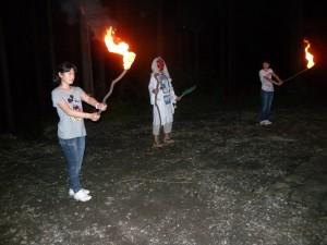 キャンプファイアー 天狗から火を頂きました